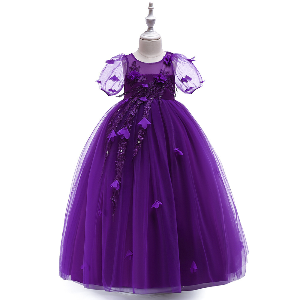 Sexy Purple  Tulle Lace Flower Girl Dress A Line Wedding Party Gowns A Line 2019