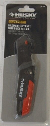 Husky Folding Utility Knife Quick Release Red Black New