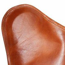 vidaXL Butterfly Chair Vintage Real Leather Brown Hide Sleeper Seat Lounge image 4
