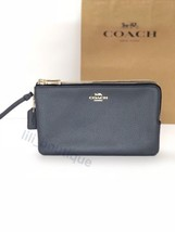 NWT Coach F87587 Double Zip Wallet Wristlet Clutch Pebble Leather Midnight $175 - $69.95