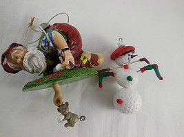 Golf Ball Snowman and Santa getting ball from mouse in hole Christmas or... - $14.84