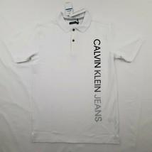 Calvin Klein Jeans Boys Polo Shirt Size XL 18/20 White Cotton SF6 - $19.79