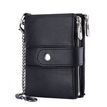 New Trend Male Wallet  Chain Wallet Crazy Horse Genuine Leather Short Sm... - $46.72