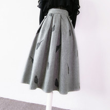 Black Winter Wool A Line Pleated Skirt High Waist Midi Skirt with Wing Patterns image 13