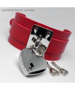 DWL Chrome Hasp & Heart Padlock Charm BDSM Collar in RED - $17.99