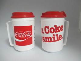 Coca-Cola Set of 2 Plastic Insulated Travel Mug Retro White Coke Smile Real - $10.89