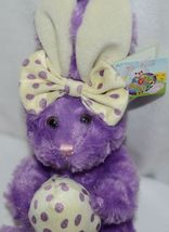 Fiesta Brand E07065 Purple White Polka Dot Sitting Easter Bunny With Bow Egg image 5