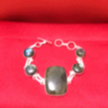 NEW Extra Large Stone Labradorite Silver Chain Bracelet, Stamped 925 - $26.00