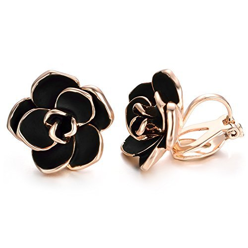 Yoursfs Clip on Earrings For Women Black Enamel Rose Flower 18k Gold Plated Non