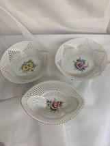 Fine Porcelain Lace Floral Basket Gold Trim Cluj Napoca Shabby Chic - $55.00