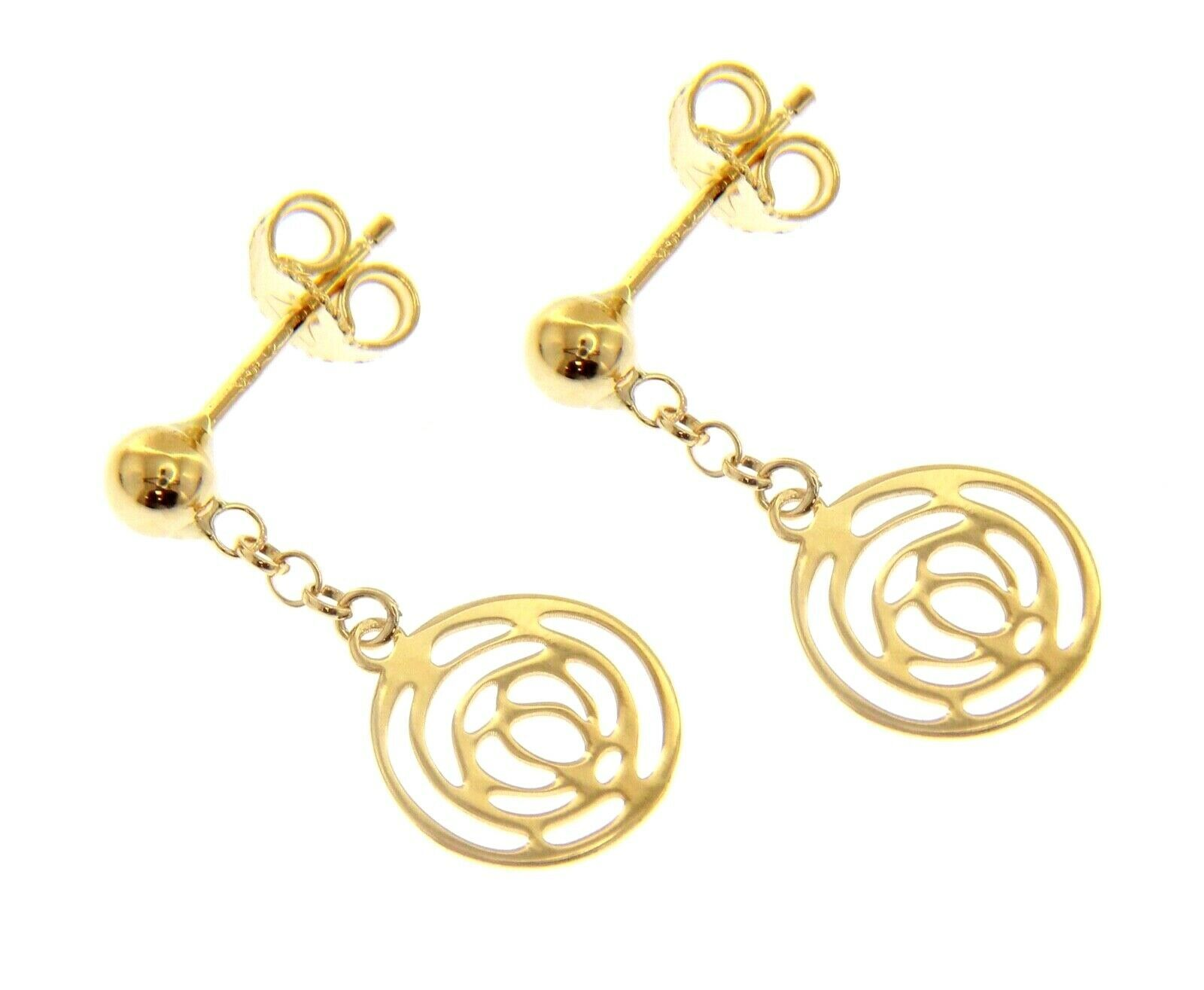 18K YELLOW GOLD PENDANT EARRINGS, FLOWER ROSE WORKED DISC, 23mm MADE IN ITALY
