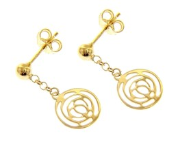 18K YELLOW GOLD PENDANT EARRINGS, FLOWER ROSE WORKED DISC, 23mm MADE IN ITALY image 1