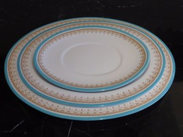 ROYAL WORCESTER 3 ANTIQUE CIRCA 1876 TEAL TURQUOISE OVAL SERVING PLATTERS - $199.00