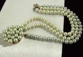 SHADES of GRAY Faux Pearl 3 Strand Bracelet Cuff Greys Vintage Japan Est... - $12.86