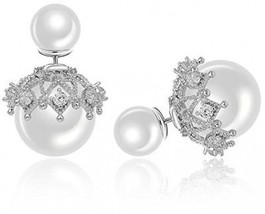 I?s Fashion Jewelry Double Sided Front Back Shell Pearl Beaded Silver Tone - $25.38
