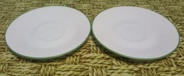 """Lot 2 replacement Corelle SHADOW IRIS 6-1/4"""" Coffee Tea Cup SAUCERS white green - $10.37"""