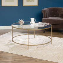 Modern Minimalist Round Coffee Table Luxurious Clear Glass Surface Satin... - €155,84 EUR