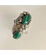 Vintage Ring - Sterling Silver / Malachite - Size 6 1/2 - $89.09