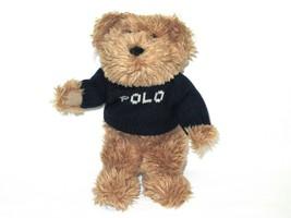 Ralph Lauren Polo Teddy Bear 2002 Blue Logo Knit Sweater Brown Plush Stu... - $9.99