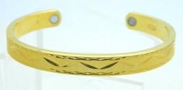 VTG AVON Signed Gold Tone Textured Geometric Embossed Magnetic Cuff Brac... - $19.80