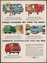 Vintage magazine ad FORDS ECONOLINE VAN from 1964 blue red and green vans pic - $12.99