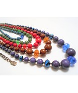 Multi Color 5 Strand Graduated Beaded Necklace Blue Red Green Brown Gunm... - $10.80
