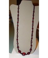 """Faceted Cherry Amber Bakelite Bead Necklace 32.5"""" Long 49.8 Grams - $179.99"""