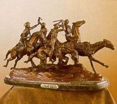 """""""Old Dragoons"""" American Handmade Solid Bronze Sculpture By Frederic Remington La - $3,244.29"""
