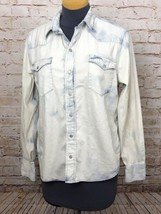 Polo Ralph Lauren Shirt Distressed Snap Button Front Acid Wash Women's XL - $39.60