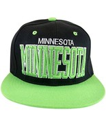 Minnesota Men's Snapback Baseball Cap (Black/Green) - $11.95