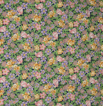 Daffodils Tulips Cotton Fabric Spring Flowers New By The Yard BTY Purple... - $10.88