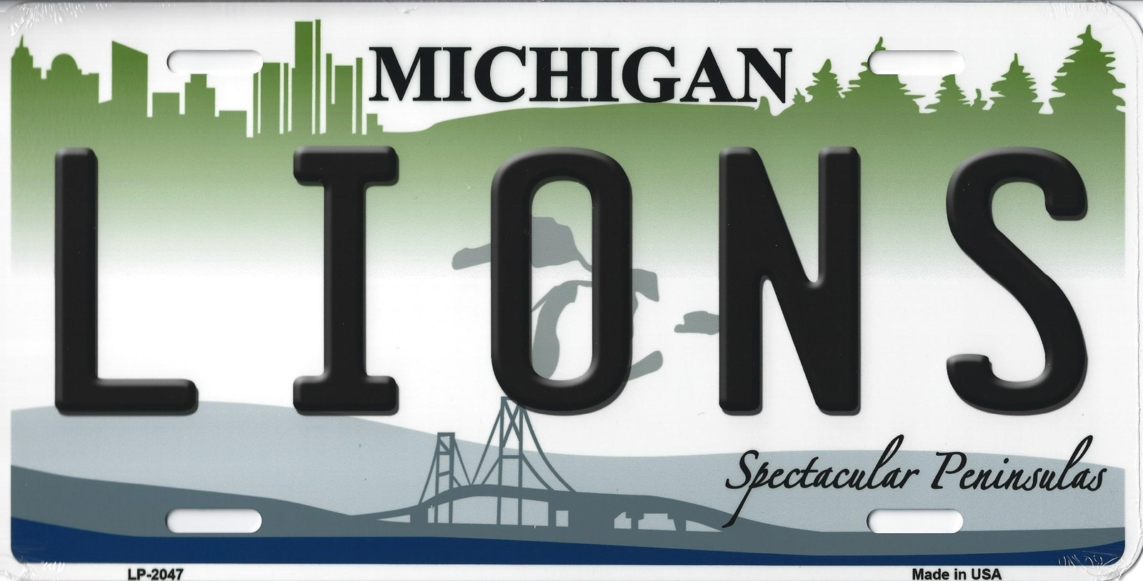 Lions Michigan State Background Metal License Plate Tag (Lions)