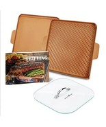 """Copper Chef 12"""" Grill & Griddle Set With Glass Press New In Original Box! - $60.00"""