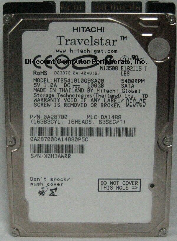 """NEW 100GB SATA Hitachi HTS541010G9SA00 2.5"""" 9.5mm Hard Drive Free USA Shipping"""