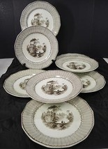 """Eight 1840s Antique Ralph Hall Brown Transfer 10 1/2"""" Plates * Chapoo - $154.37"""
