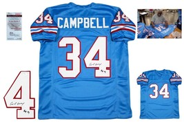 Earl Campbell Autographed SIGNED Custom Jersey - JSA Authentic w/ Photo - Blue - $138.59
