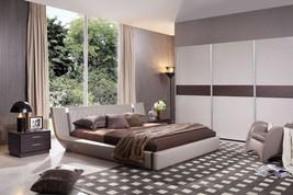 Modrest Denmark - Modern Grey & Brown Oak Bed w/ Lights - £1,460.00 GBP