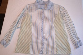 LIZ CLAIBORNE WOMAN Button Front Top Shirt Striped SS Ladies Blouse Wome... - $18.95