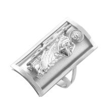 Sterling Silver Saint Jude Rectangle Ring - £28.69 GBP