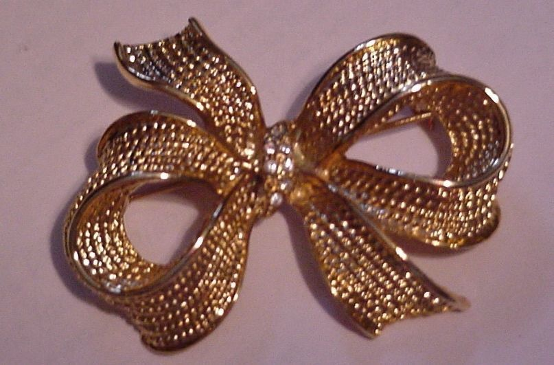 "Vintage 2 1/4"" Signed Allison Reed Gold Tone Rhinestone Bow Brooch Pin"