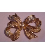 """Vintage 2 1/4"""" Signed Allison Reed Gold Tone Rhinestone Bow Brooch Pin - $32.00"""