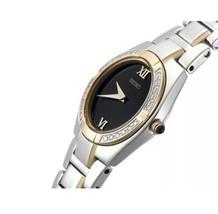 Seiko Dress Black Dial Diamond Bezel TWO-TONE St.Steel Women's Watch SUJF10 New - $102.84