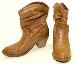 American Eagle High Heeled Slouch Western Ankle Slip On Boots Size 7 1/2 Brown - $29.70