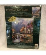 2002 MIP Candamar Thomas Kinkade Embellished Cross Stitch Mountain Chape... - $29.21