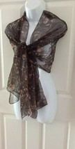"Vintage Womens Brown Floral Scarf Rectangle Made in Korea Polyester 68"" ... - $9.49"