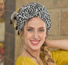 Amazing Soft Black Yellow Headscarf TICHEL, Hair Snood, Head Scarf, Head Coverin - $34.55