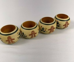 Hartstone Pottery Gingerbread Wood Napkin Rings Holders Lot of 4 - $49.45