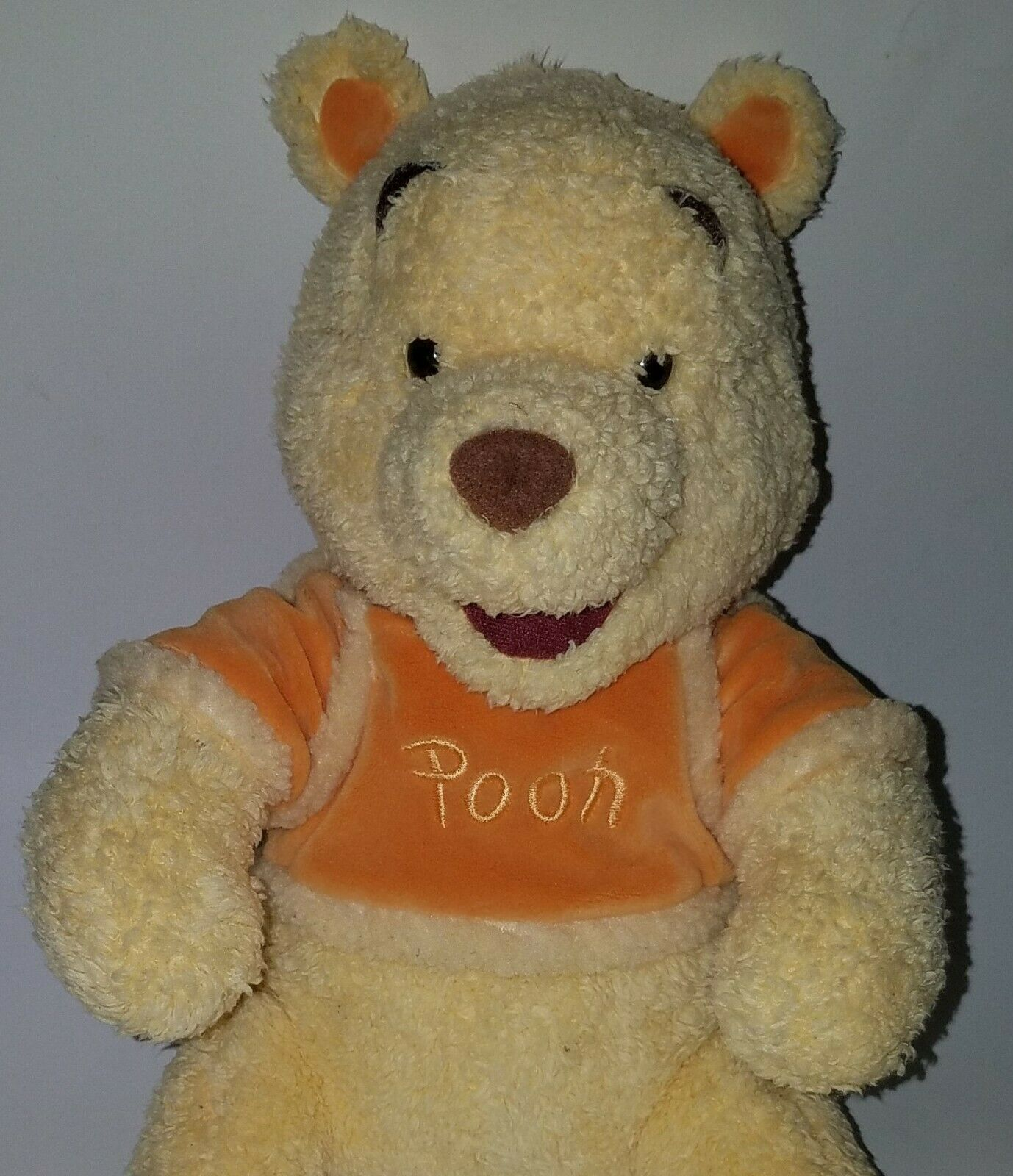 "Winnie Pooh 12"" Disney Store Plush Orange Shirt Bear Stuffed Animal Toy SOFT"