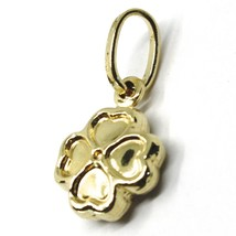 ROUNDED 18K YELLOW GOLD MINI FOUR LEAF CLOVER PENDANT, SMOOTH 11mm, 0.43 inches image 2