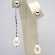 Ohrringe Anhänger Weißgold 18K, Kette Oval, Perle Weiß Tropf , 8 MM - $475.29